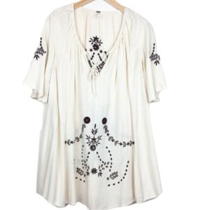 Free People Off-White Embroidered Tunic Dress